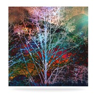 "Sylvia Cook ""Trees in the Night"" Luxe Square Metal Art"