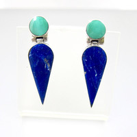 Sterling Turquoise Lapis Earrings. Dagger Teardrop Dangle Earrings. Southwestern Jewelry