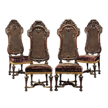 Set of four English William & Mary chairs