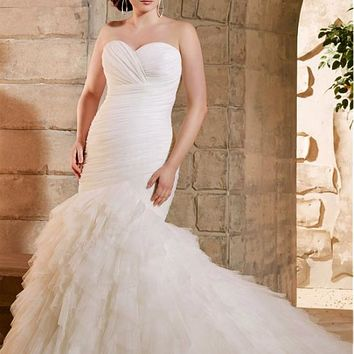 [199.99] Stunning Tulle Sweetheart Neckline Mermaid Plus Size Wedding Dress - dressilyme.com