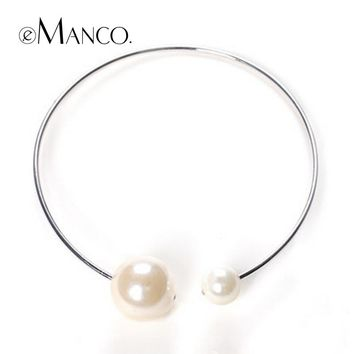 eManco Collar accessories big Imitation pearl statement necklace 2018 brand new Zinc Alloy fashion necklaces women accessories