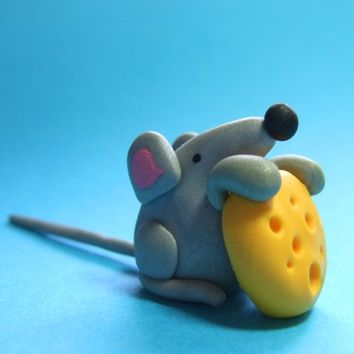Mouse Figurine Cake Topper  Sculpted Animal by TheHappyAcorn