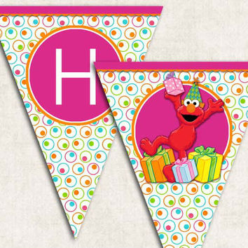 "Elmo Birthday Party Banner, ""Happy Birthday"", digital file, monster, you-print"