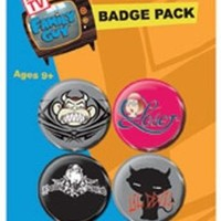 Family Guy Badge Pack - Tattoo, 4 X 38mm Badges (6 x 4 inches)