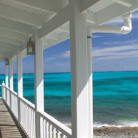 Porch View of the Atlantic Ocean, Loyalist Cays, Abacos, Bahamas Photographic Print by Walter Bibikow at Art.com
