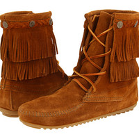 Minnetonka Double Fringe Front Lace Boot Brown Suede - Zappos.com Free Shipping BOTH Ways