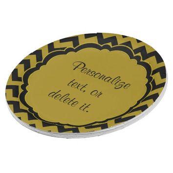SC-Monogram Chevron Black-Gold Paper Plates