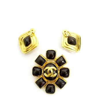 Vintage Chanel Stone Earrings, Pin Brooch Set Rare Gold
