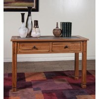 Sunny Designs Sedona Sofa Console Table with Slate Top In Rustic Oak
