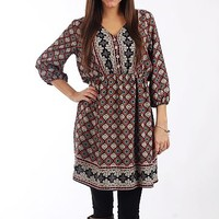The Moroccan Tile Dress,Nav/Rst