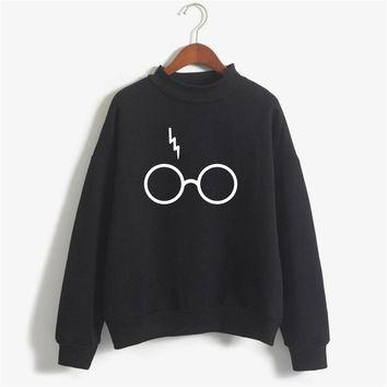 Harry Potter Glasses Print Sweatshirt Women Hoodie O-Neck Long Sleeve Cotton Fleece Sweatshirt Printed Pullover Woman NSW-21568