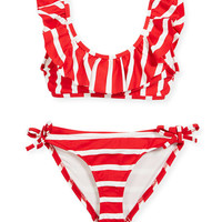 Milly Minis Striped Ruffle Pinafore Two-Piece Swimsuit, Size 4-7 and Matching Items