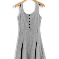 Grey Strap Dress with Button Front