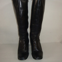 free ship vintage made in Brazil Black leather knee CAMPUS boots hipster indie boho women size 8 1/2 US 39