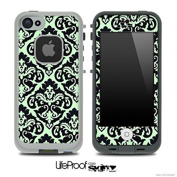 Delicate Pattern Black and Mint Green Skin for the iPhone 5 or 4/4s LifeProof Case