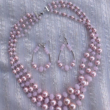 Pink Crystal Pearl necklace set, Rose Pink Bridesmaid Jewelry,  Pastel Pink Necklace set of 5 or more, Multi strand Pink necklace set of 3