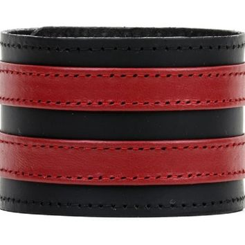 "Double Red on Black Strip Leather Wristband Bracelet Cuff 1-3/4"" Wide"