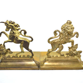 Bookends Brass Bookends Lion Bookends Unicorn Bookends Avante Garde Bookends Gold Bookends
