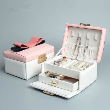 New type High Quality  Butterfly Leather Jewelry Box with bow Korean Style
