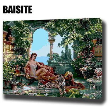 BAISITE DIY  Oil Painting By Numbers E160 lady with big cats