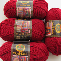 4 Skeins Lion Brand Wool-Ease Cranberry Worsted Weight Wool Blend Yarn, Brand New, Great for Sweaters & Blankets