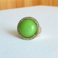 Sparkling Cabochon Lilly Ring : Vintage Inspired Clothing & Affordable Fall Frocks, deloom | Modern. Vintage. Crafted.