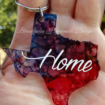 Texas Keychain, Texas Home Key chain, Alcohol Ink, Vinyl, Lily Pulitzer Inspired, Personalize, Customize, Texas Proud, State of Texas