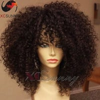 180 density Natural hair wigs short kinky curly wig