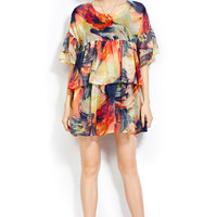 Orange Half Sleeve Flounced Floral Dress