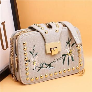Luxury Handbags Women Bags Designer  Fashion Embroidery Flower
