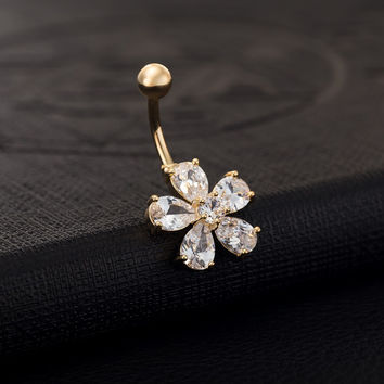 Gold Plated Crystal Flower Belly Button Ring