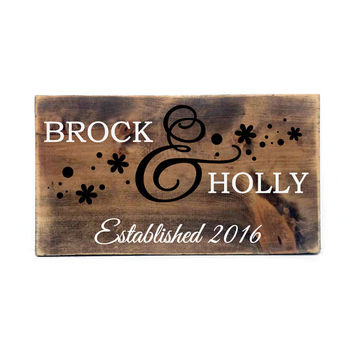 Rustic Personalized Established Wood Sign- Primitive Home Decor, Custom Wood Sign, Horse shoe Decor, Love Saying, Couples Gift