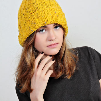 yellow hat, yellow beanie, yellow knit hat, yellow beanie hat,tweed beanie hat,knit hat wool,Ready to ship
