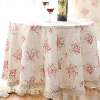 Collections - Vintage Pink Floral Table Cloth Round 60 in.
