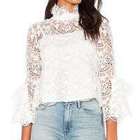 Endless Rose Ribbon Ties Crochet Lace Top in Off White