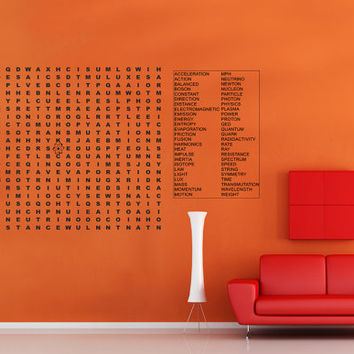 Science physics word puzzle Extra Large vinyl wall decal - lettering gam gecal for playroom classroom