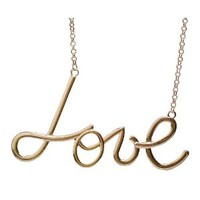 Jane Stone New Design Golden Chain Necklace Love Necklace Fashion Bib Jewelry Best Gift for Girl Wedding Bridal Jewelry Name Women Necklace(Fn1082-Golden )