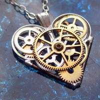 "Mini Clockwork Heart Necklace ""Quote"" Elegant Industrial Heart Pendant Steampunk Mechanical Love Sculpture Gershenson-Gates Mothers Day"