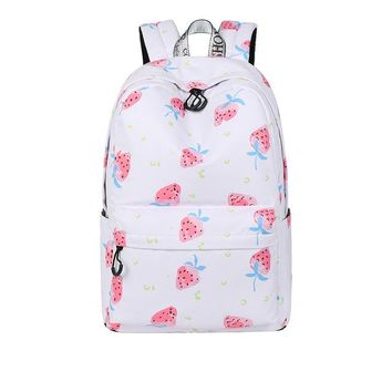 University College Backpack Cute Waterproof Women School  Strawberry Pattern Printing Large Capacity Travel Girls  BookbagAT_63_4