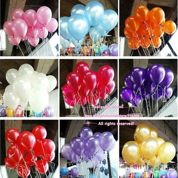 DCCKF4S New 100pcs/lot 10inch 1.2g/pcs Latex Balloons Thickening Pearl Celebration Party Wedding Birthday Halloween Christmas Decoration