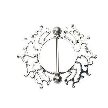 ac DCCKO2Q Round Flower Stainless Steel Anti Allergic Dangle Piercing Ring Creative plugs and tunnels 2017 Body Jewelry