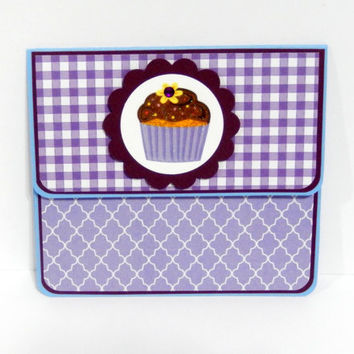 Gift Card Holder, Gift Card Envelope, Gift Card Box, Money Holder- Purple Gingham