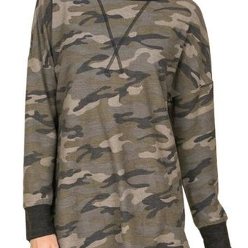 Camouflage print long sleeve French terry top