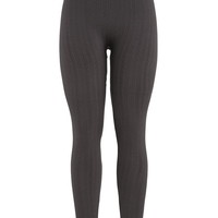Striped Fleece Lined Legging - Charcoal