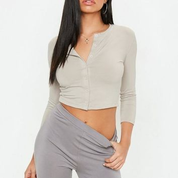 Missguided - Stone Button Front Long Sleeve Crop Top