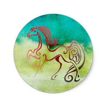 Horse Tails Classic Round Sticker