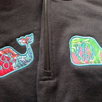 Lilly Pulitzer Monogram Whale 1/4 zip sweatshirt Vineyard Vines Inspired