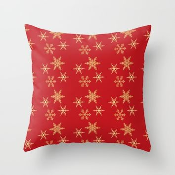 Snowflakes on Red Throw Pillow by SagaciousDesign