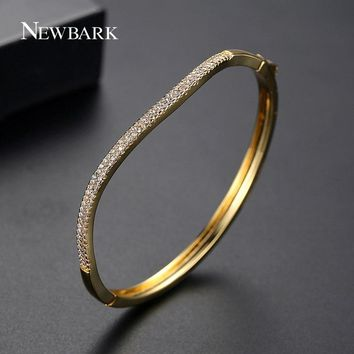 NEWBARK Flowing Love Gold Silver Bracelet Copper AAA Cubic Zircon Bracelet Bangle Double Row Cubic Zircon For Women Wedding