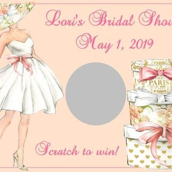 10 Paris Themed Bridal Shower Scratch Off Game Card